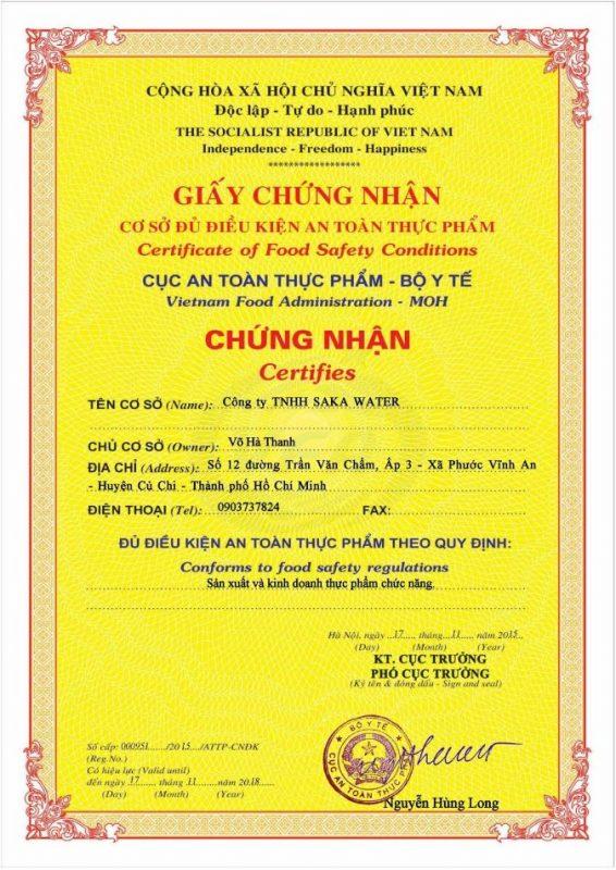 giấy chứng nhận saka